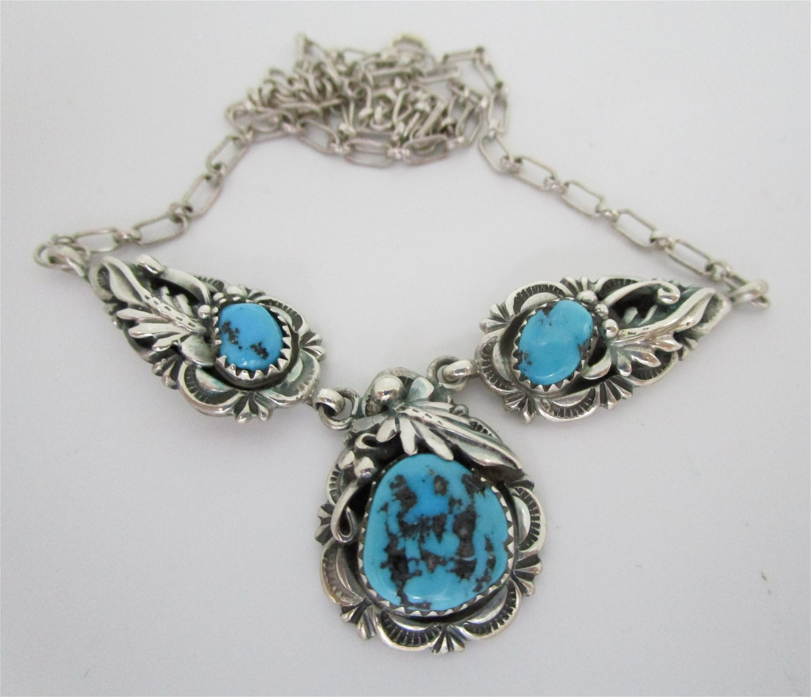 FAB TURQUOISE NECKLACE STERLING SILVER SQUASH