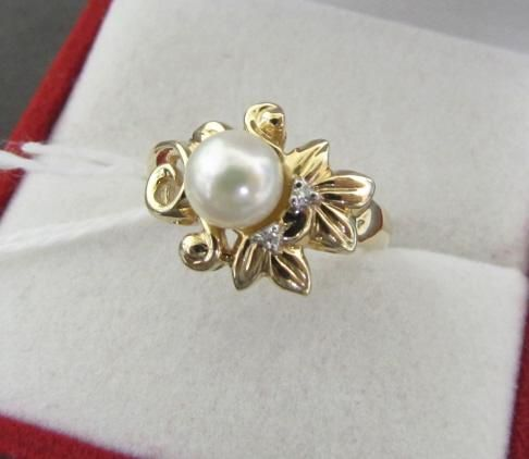 7MM PEARL DIAMOND RING 14K GOLD SIZE 9