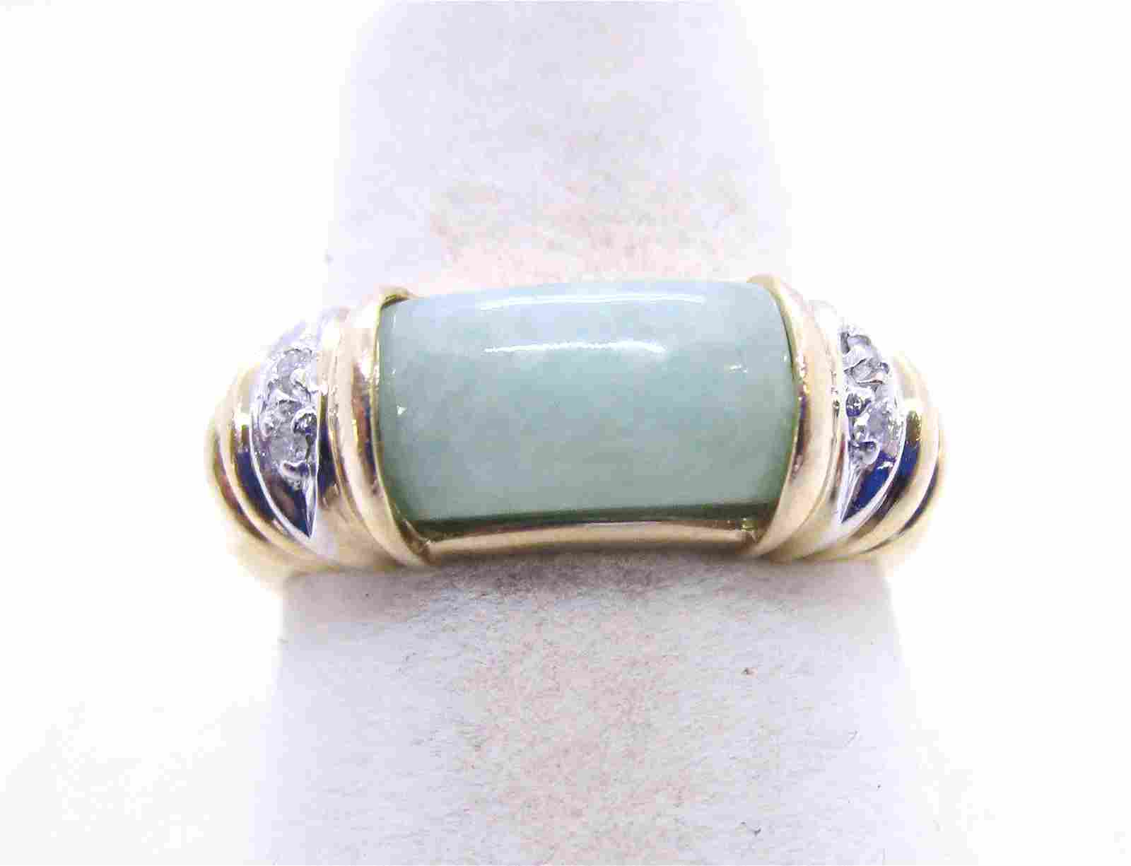 JADE DIAMOND RING 14K YELLOW GOLD SIZE 7