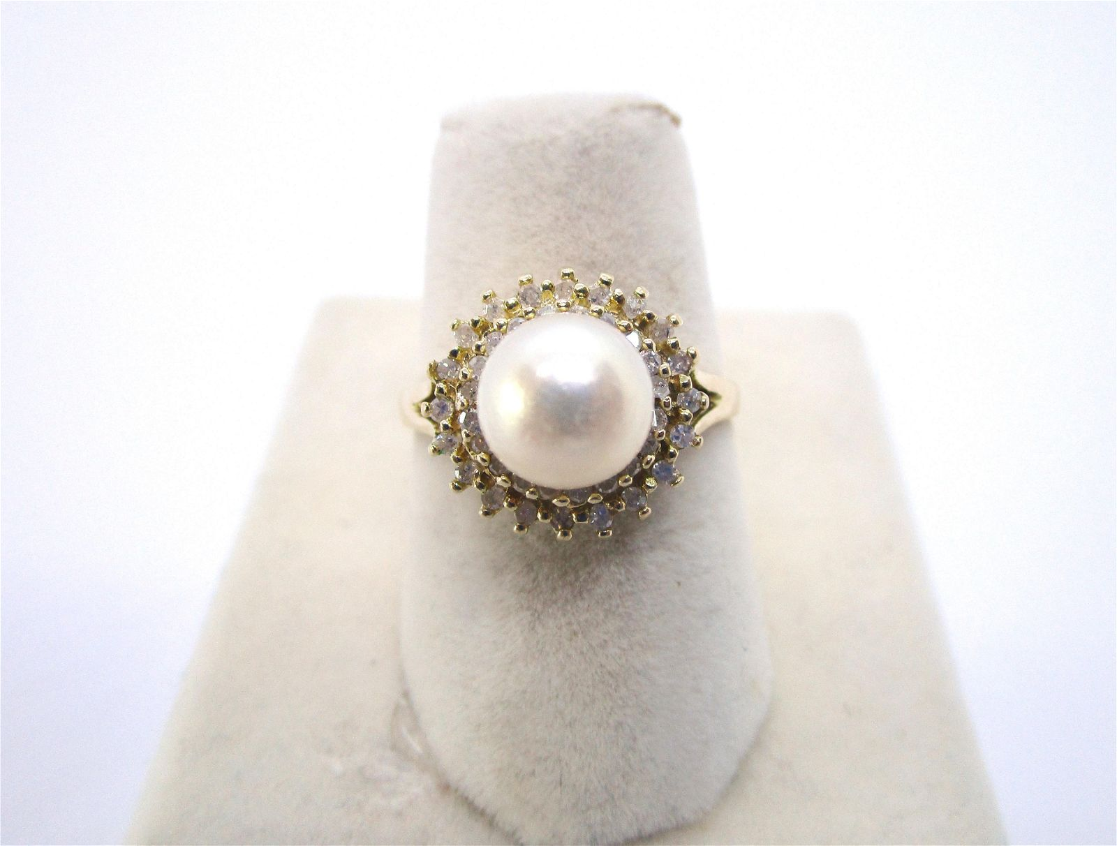 7.5MM PEARL AND .50CT DIAMOND RING 14K GOLD