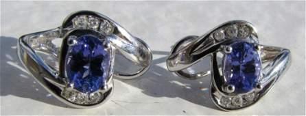 3CT TANZANITE DIAMOND EARRINGS 14K GOLD PIERCED