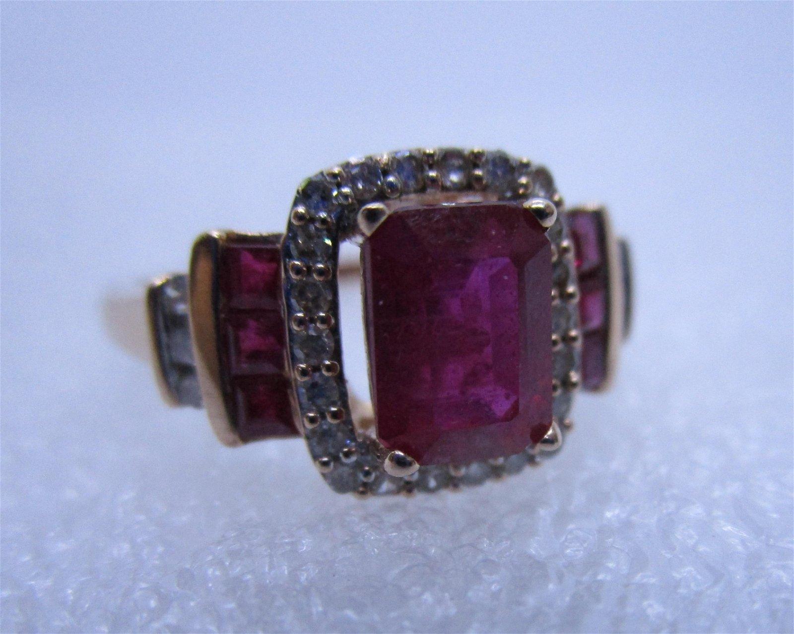 2 CARAT RUBY DIAMOND 14K ROSE GOLD RING SIZE 7