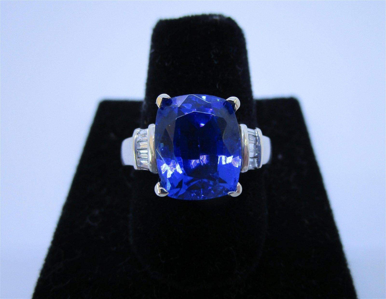 7.10 CARAT TANZANITE DIAMOND RING 14K WHITE GOLD