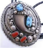 BEAR CLAW BOLO NECKLACE TURQUOISE STERLING SILVER