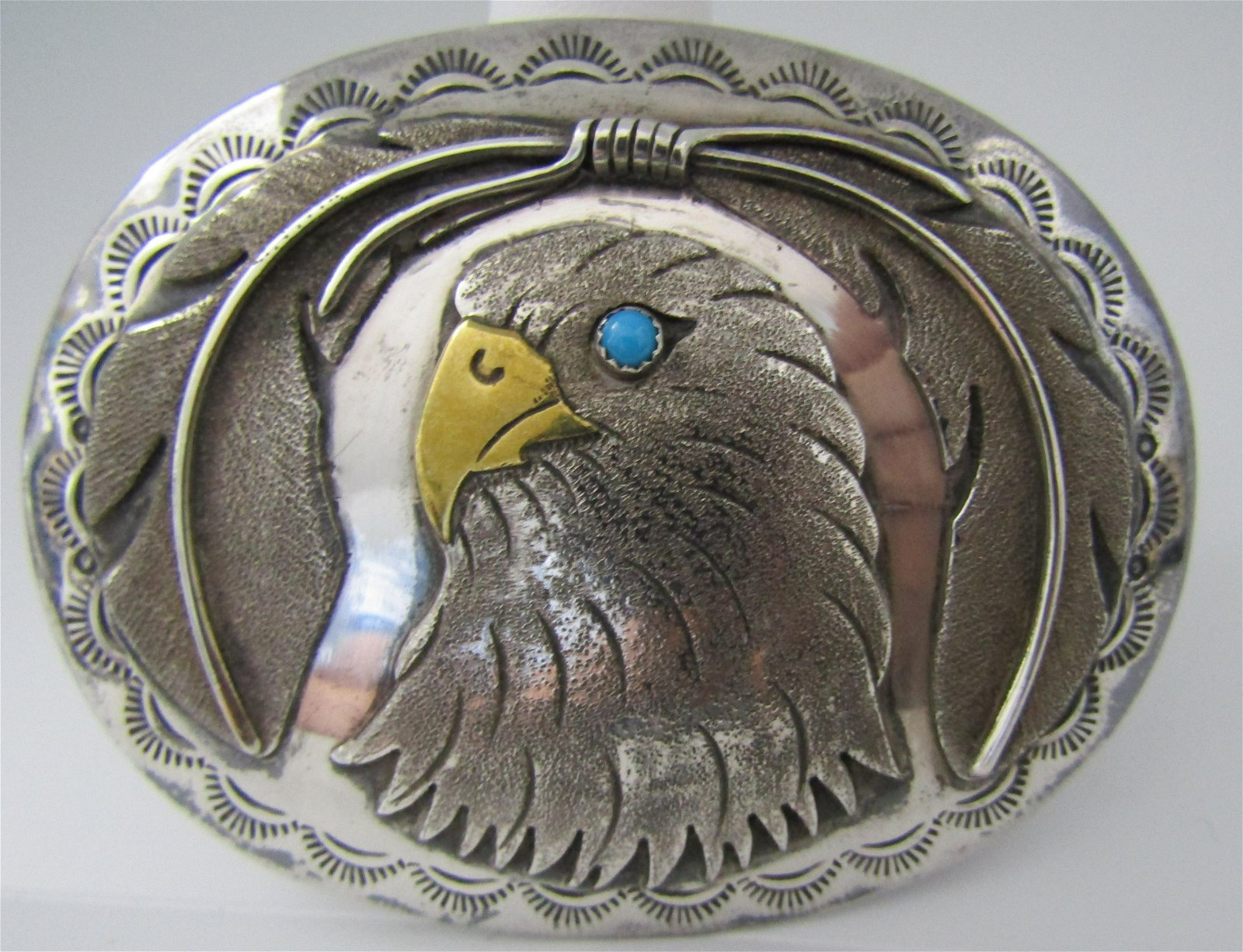 CASTILLO TURQUOISE BELT BUCKLE STERLING SILVER