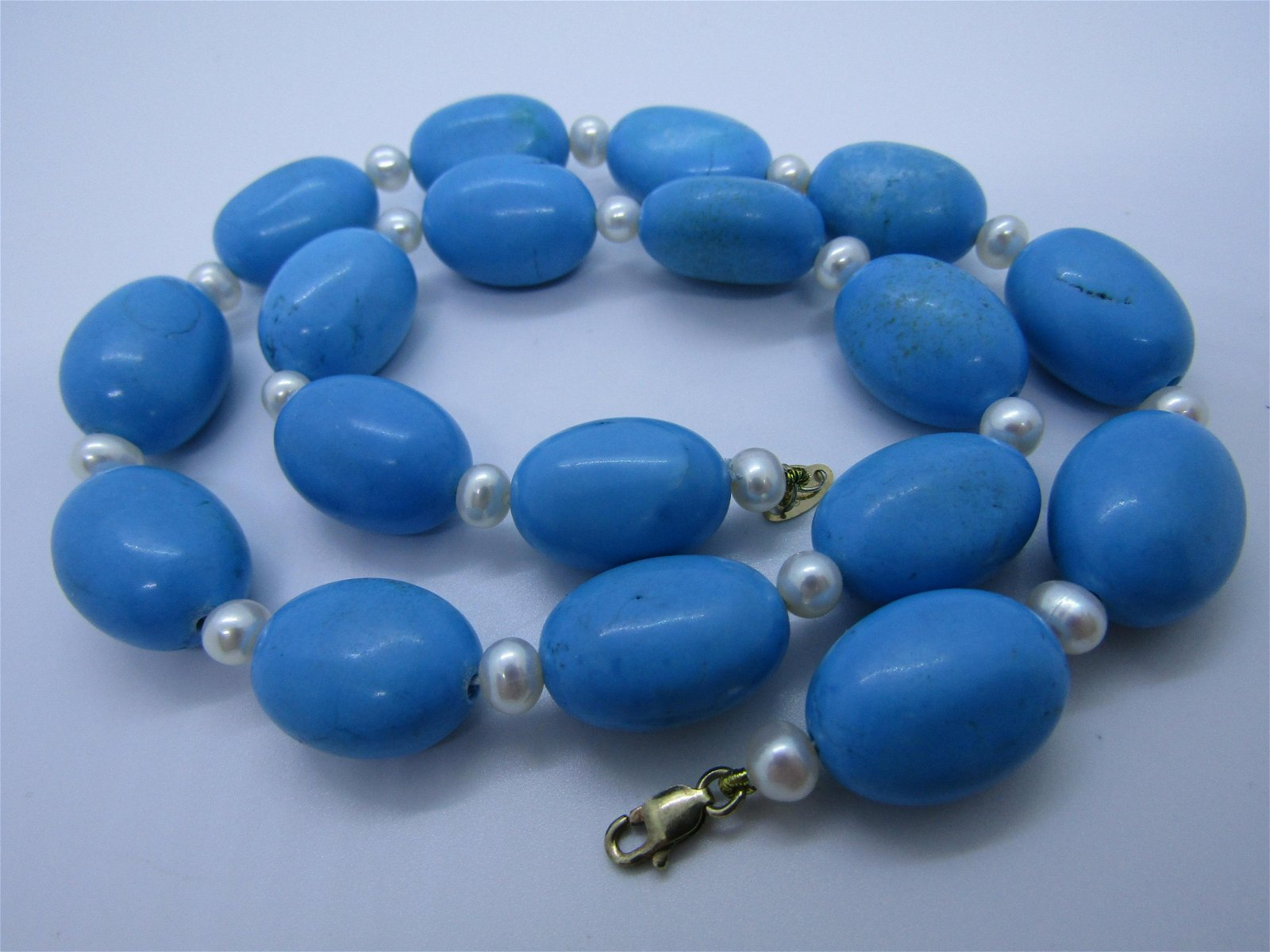 """17"""" TURQUOISE 18MM BEAD PEARL 14K GOLD NECKLACE"""