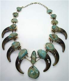 SOLID 14K GOLD BEAR CLAW SQUASH BLOSSOM NECKLACE