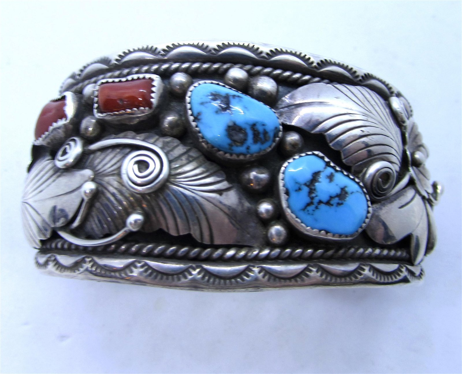 EDSITTY NAVAJO TURQUOISE CORAL STERLING BRACELET