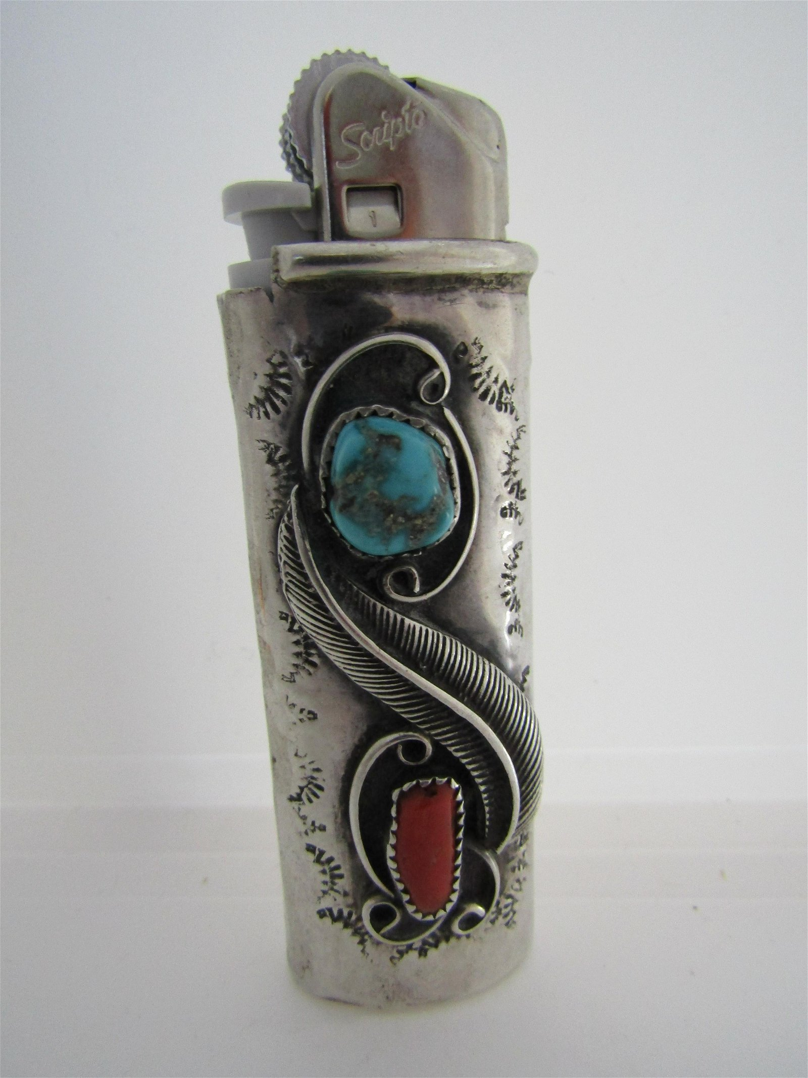 SIGNED JS TURQUOISE CORAL LIGHTER STERLING SILVER