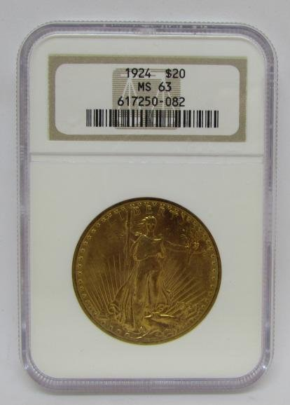 1924 $20 MS63 GOLD ST GAUDENS DOUBLE EAGLE NGC