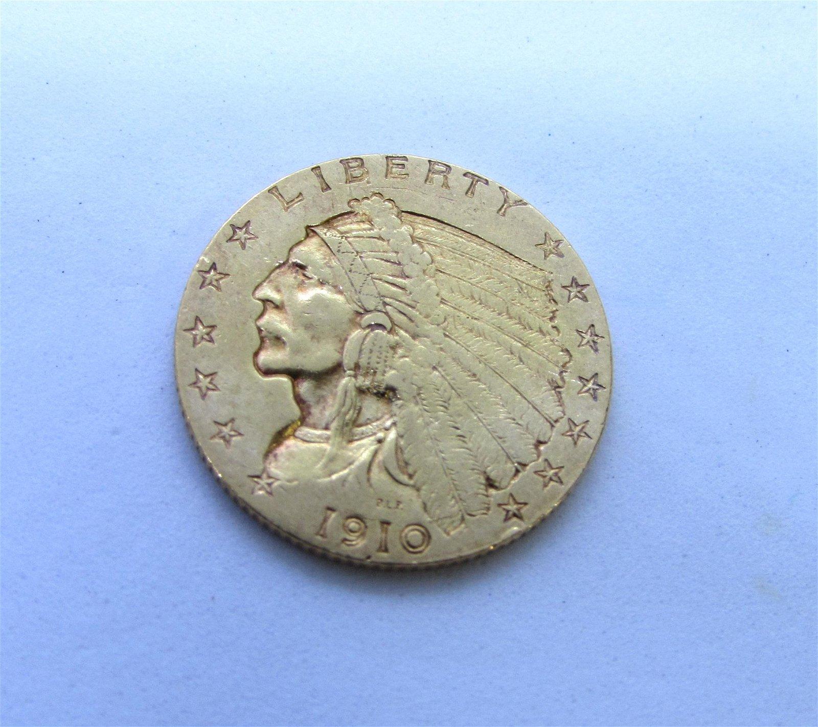 1910 INDIAN GOLD 2 1/2 DOLLAR US COIN $2.50