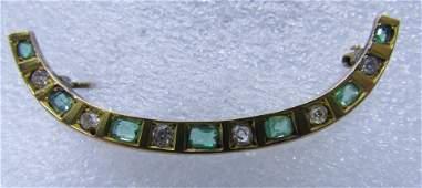 AJ HEDGES 15C EMERALD DIAMOND PIN 14K GOLD BROOCH