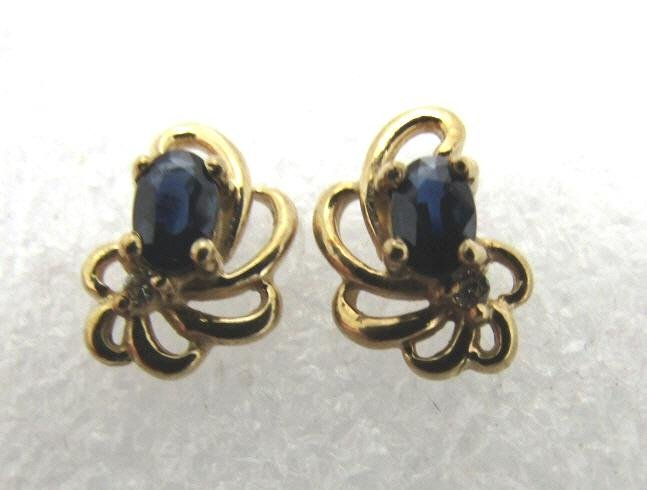 BLUE SAPPHIRE DIAMOND EARRINGS 14K YELLOW GOLD
