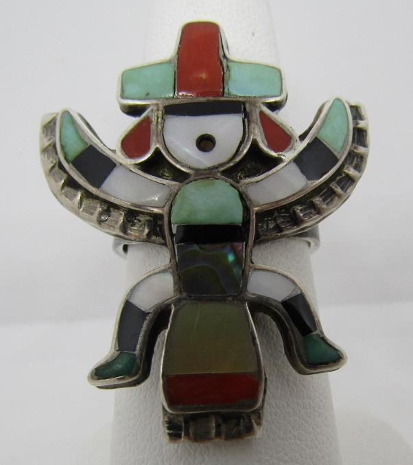 ZUNI RAINBOW DANCER RING STERLING SILVER INLAY