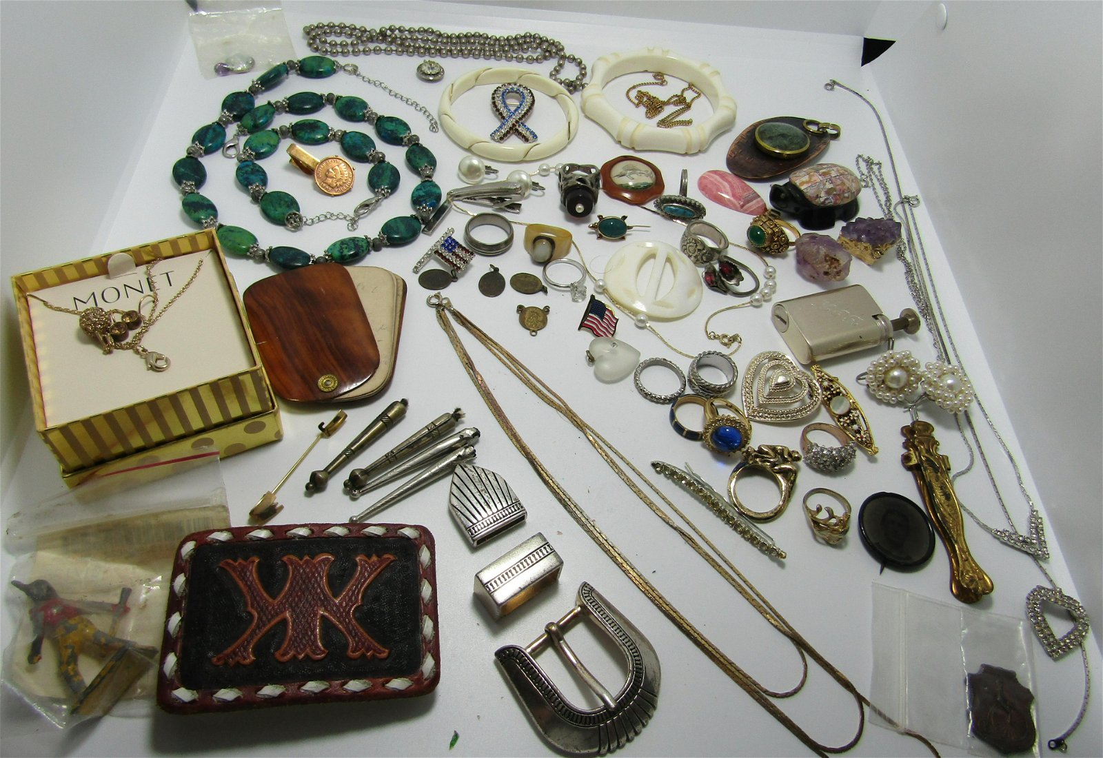 LARGE LOT NICE COSTUME JEWELRY BUCKLES AMETHYST