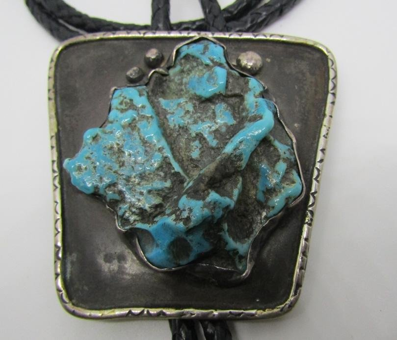 JR TURQUOISE BOLO TIE NECKLACE STERLING SILVER