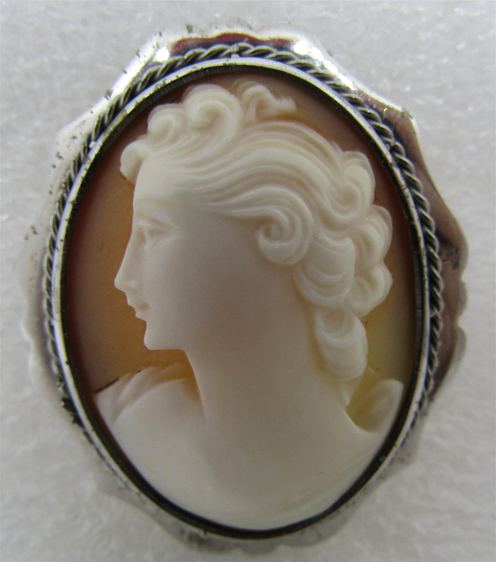 CAMEO PIN PENDANT BROOCH STERLING SILVER &10K GOLD