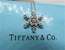 TIFFANY & CO PLATINUM DIAMOND SNOWFLAKE NECKLACE