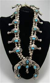 TURQUOISE SQUASH BLOSSOM NECKLACE STERLING SILVER