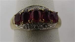 ANTIQUE 50 CT RUBY  25CT DIAMOND RING 14K GOLD
