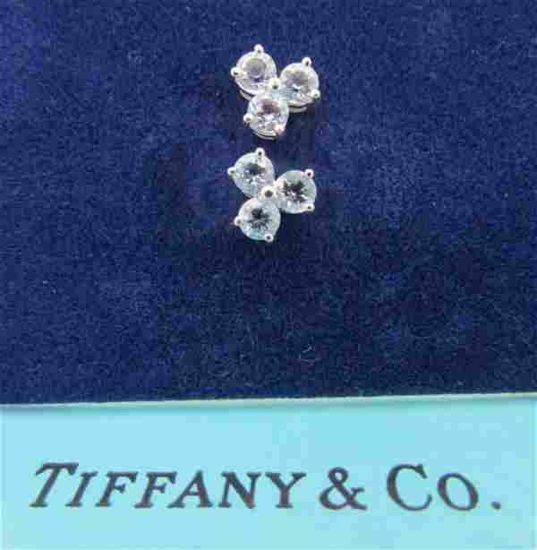 TIFFANY & CO AQUAMARINE EARRINGS 18K GOLD AQUA