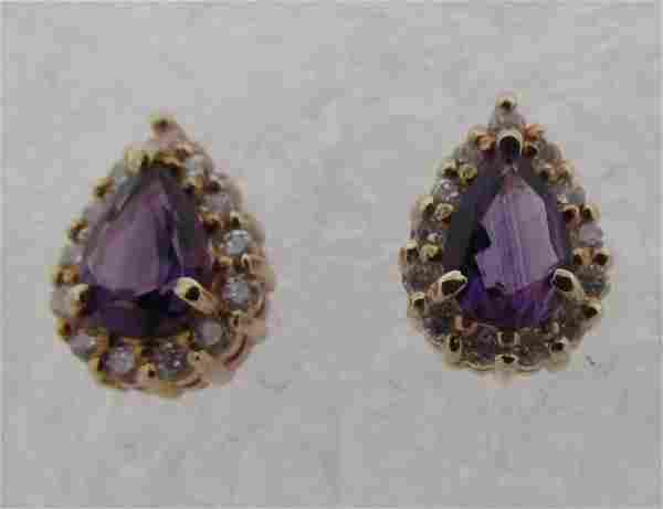TIFFANY & CO AMETHYST DIAMOND EARRINGS 14K GOLD
