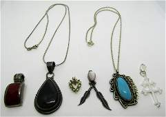 6 PENDANT NECKLACE LOT STERLING TURQUOISE