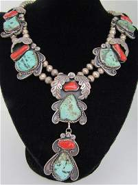TURQUOISE CORAL SQUASH BLOSSOM NECKLACE STERLING