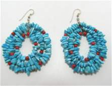TURQUOISE RED CORAL THREE STRAND STERLING EARRINGS