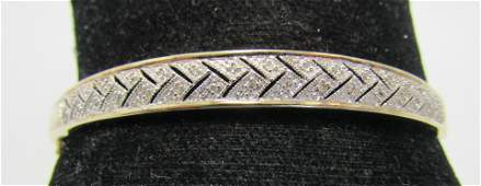 32 DIAMOND BANGLE BRACELET GOLD N STERLING SILVER