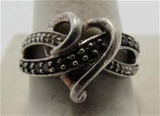 JWBR BLACK & WHITE DIAMOND RING STERLING SILVER