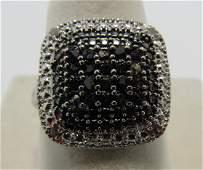 BLACK & WHITE DIAMOND RING STERLING SILVER