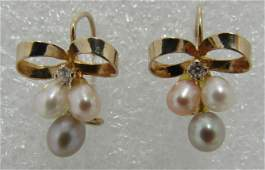 PEARL DIAMOND EARRINGS 14K GOLD BOW