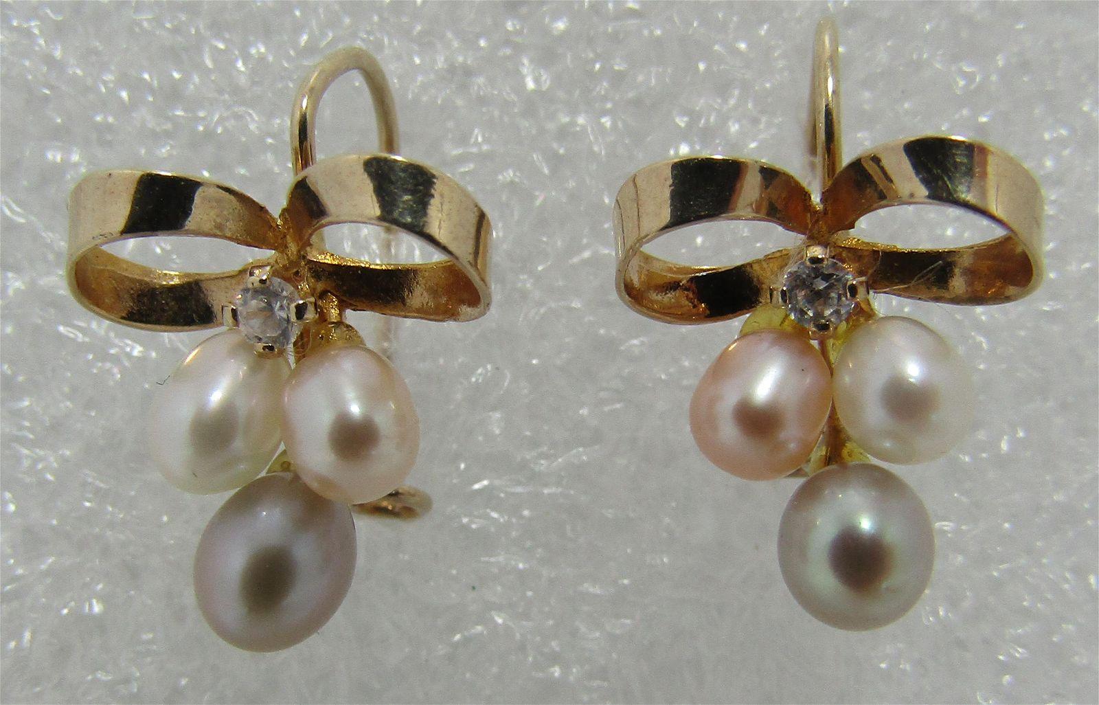PEARL DIAMOND EARRINGS 14K GOLD BOW