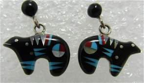 INLAY TURQUOISE BEAR EARRINGS STERLING SILVER