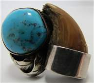 SIGNED BEAR CLAW TURQUOISE RING STERLING SILVER