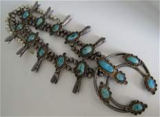 SQUASH BLOSSOM TURQUOISE NECKLACE STERLING SILVER