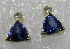TANZANITE DIAMOND EARRINGS 14K GOLD 4 CARATS