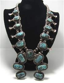 STORMY MOUNTAIN STERLING SQUASH BLOSSOM NECKLACE