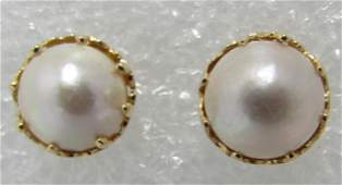 10MM MABE PEARL EARRINGS 14K GOLD
