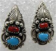 SIGNED W TURQUOISE RED CORAL STERLING EARRINGS
