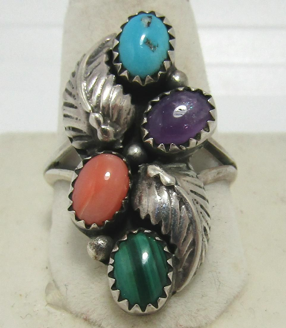 BEGAY RING TURQUOISE CORAL STERLING SILVER