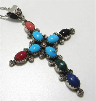 BEGAY TURQUOISE CORAL STERLING CROSS NECKLACE