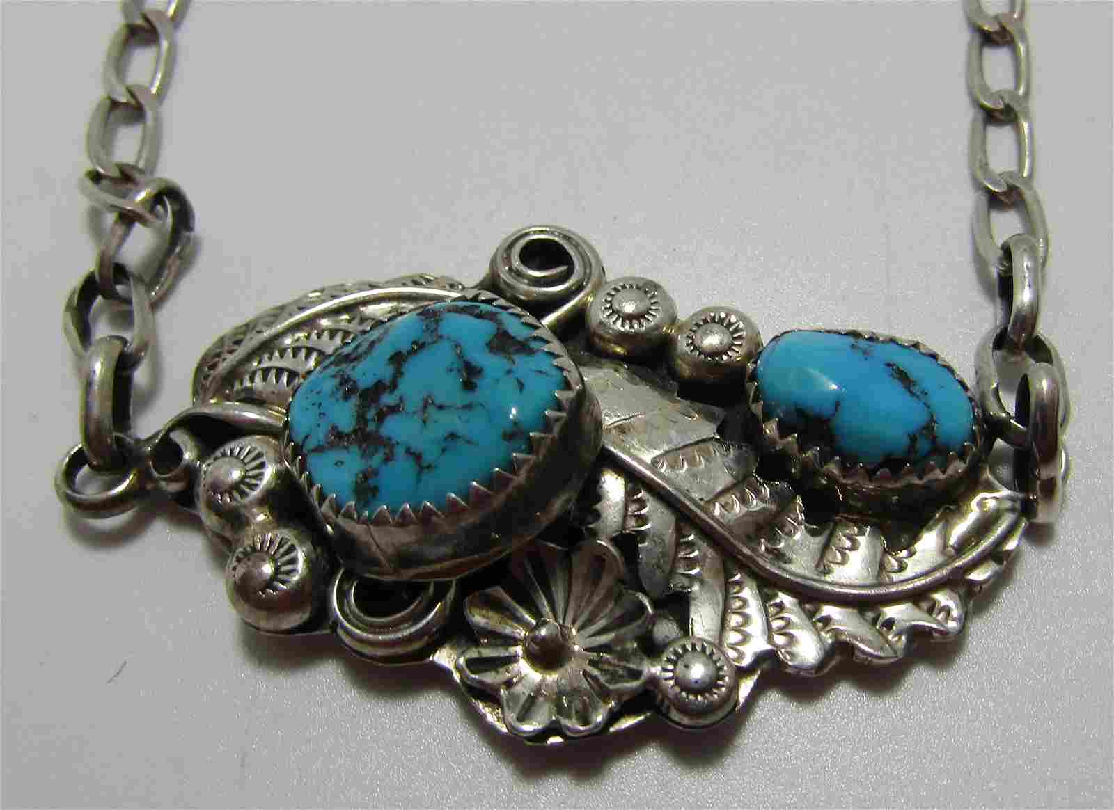 YAZZIE TURQUOISE STERLING SILVER NECKLACE SQUASH