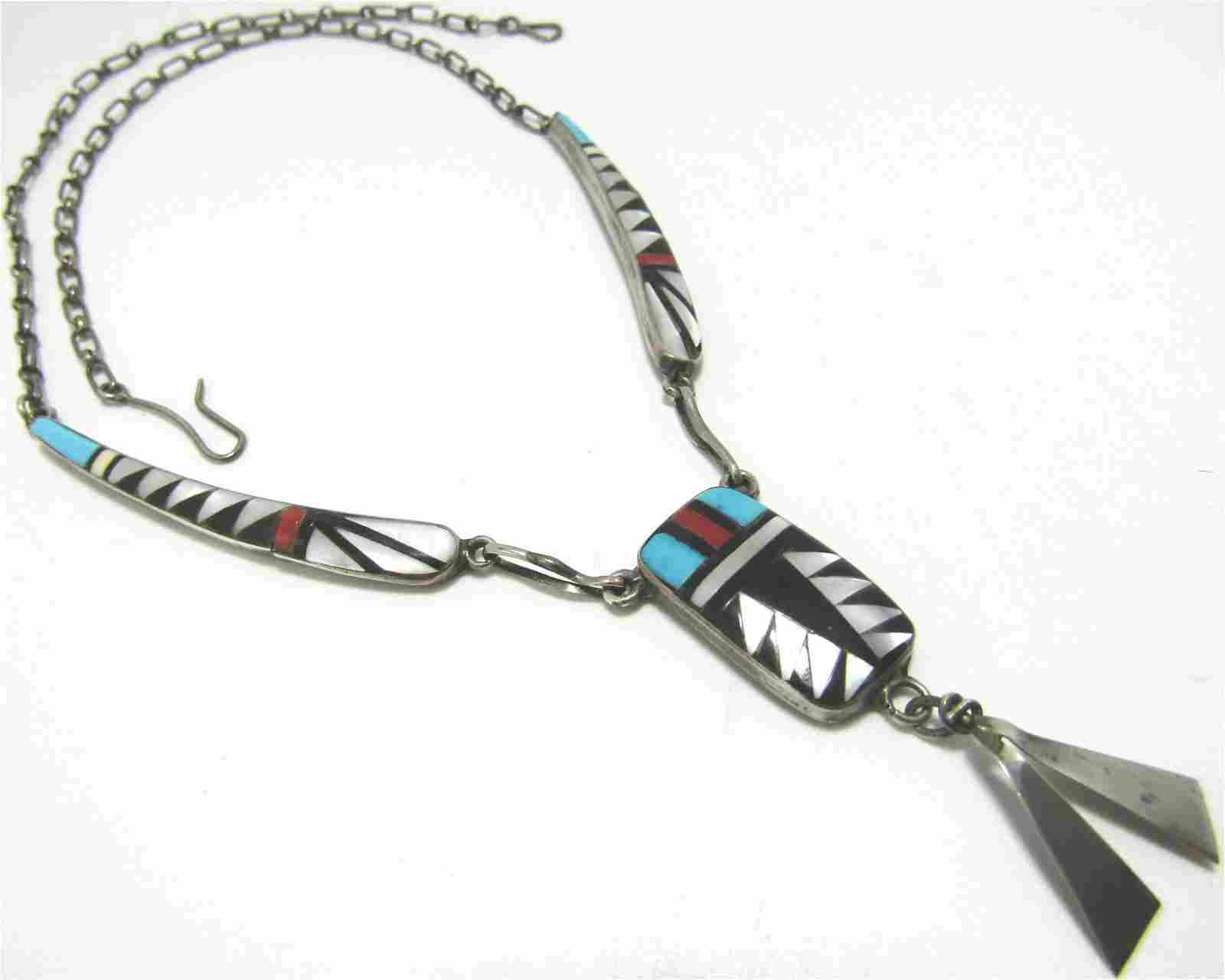 BOWANNIE ZUNI TURQUOISE NECKLACE STERLING SILVER