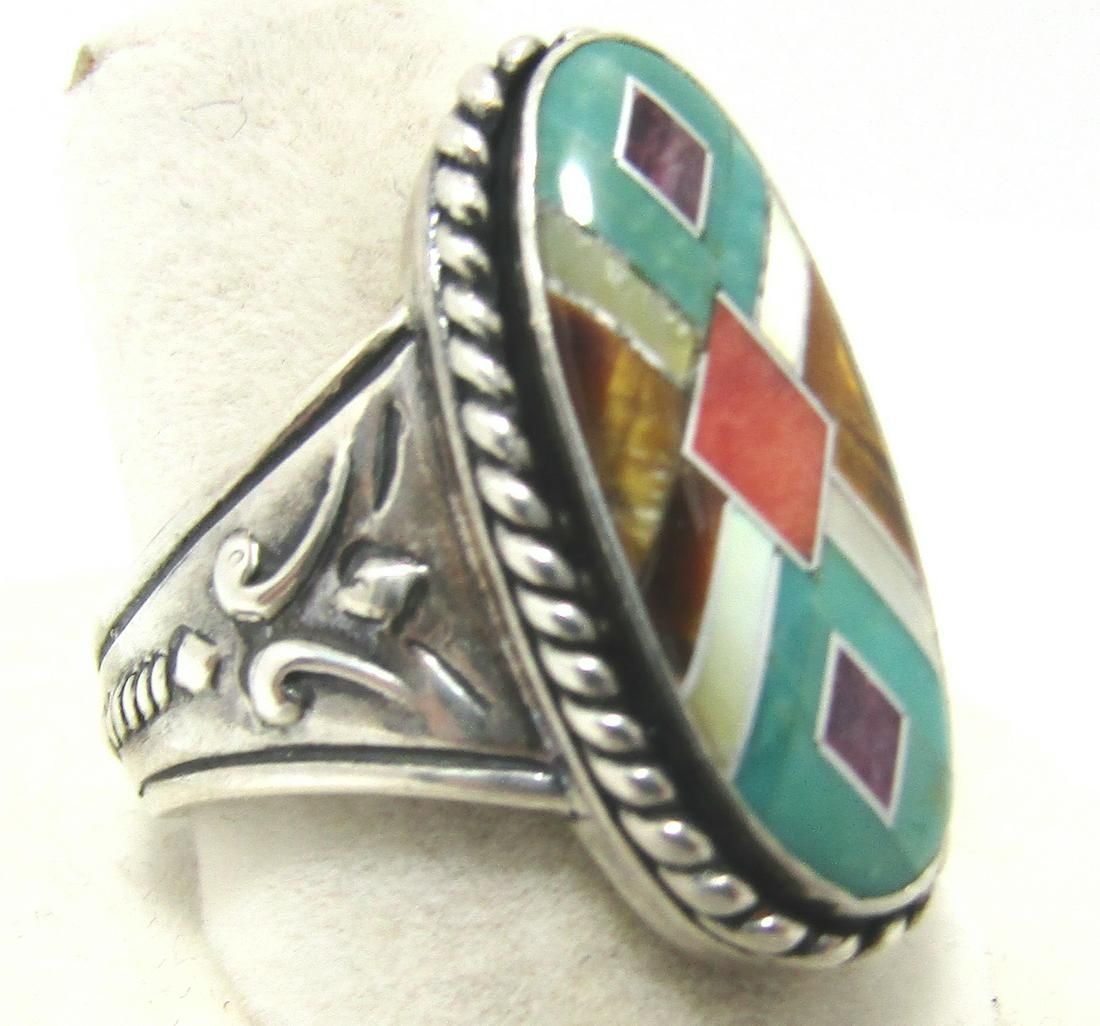 TURQUOISE TIGERSEYE INLAY RING SZ9 STERLING SILVER