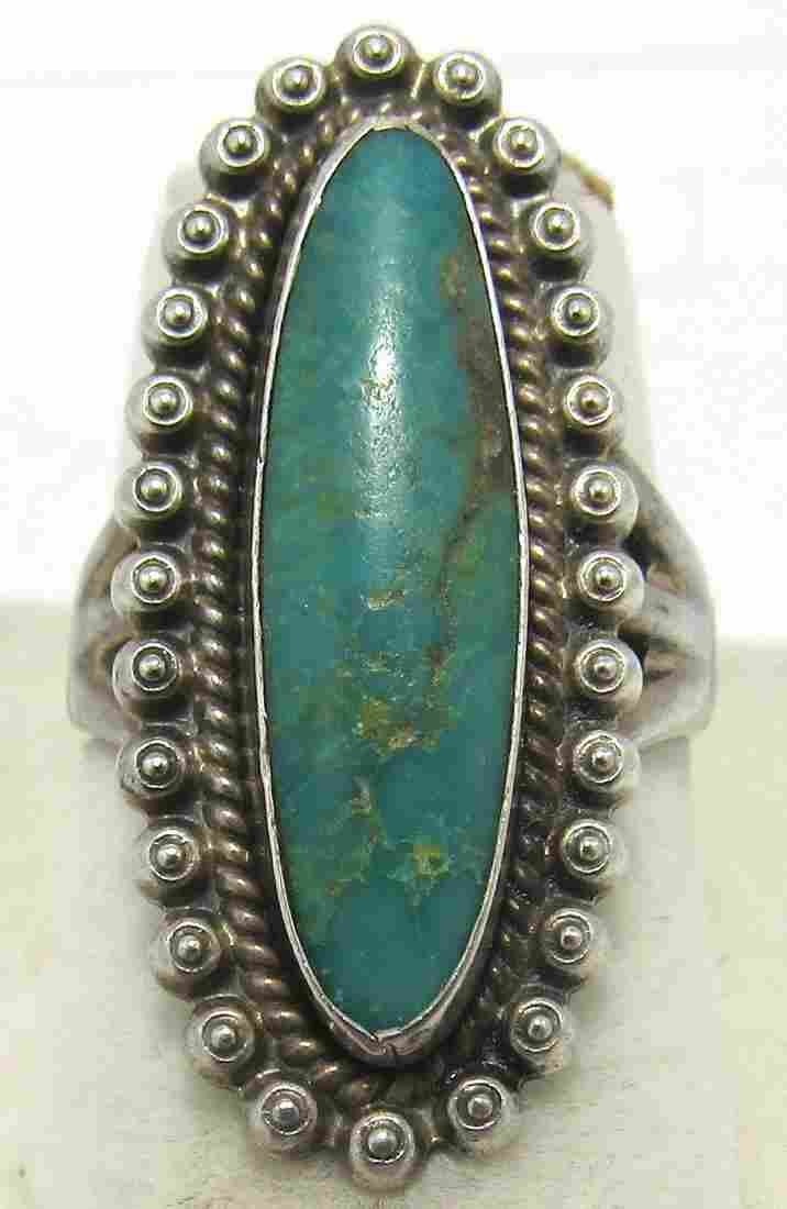VINTAGE SIGNED TURQUOISE STERLING SILVER RING