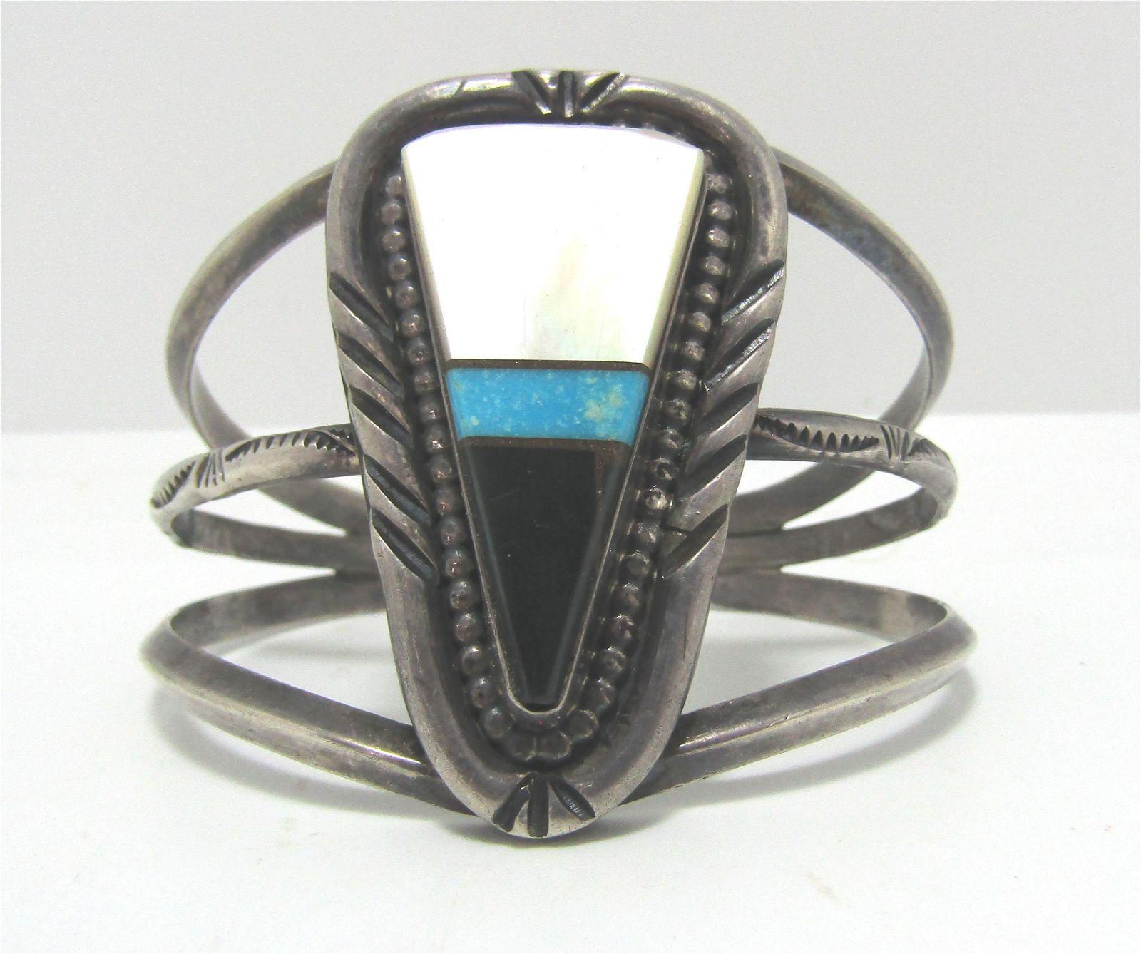ZUNI TURQUOISE STERLING SILVER CUFF BRACELET