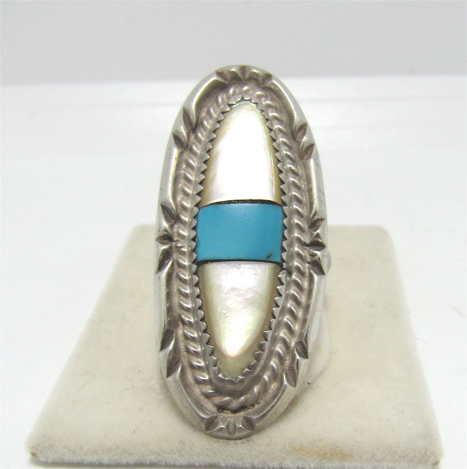 ZUNI INLAID TURQUOISE STERLING SILVER RING