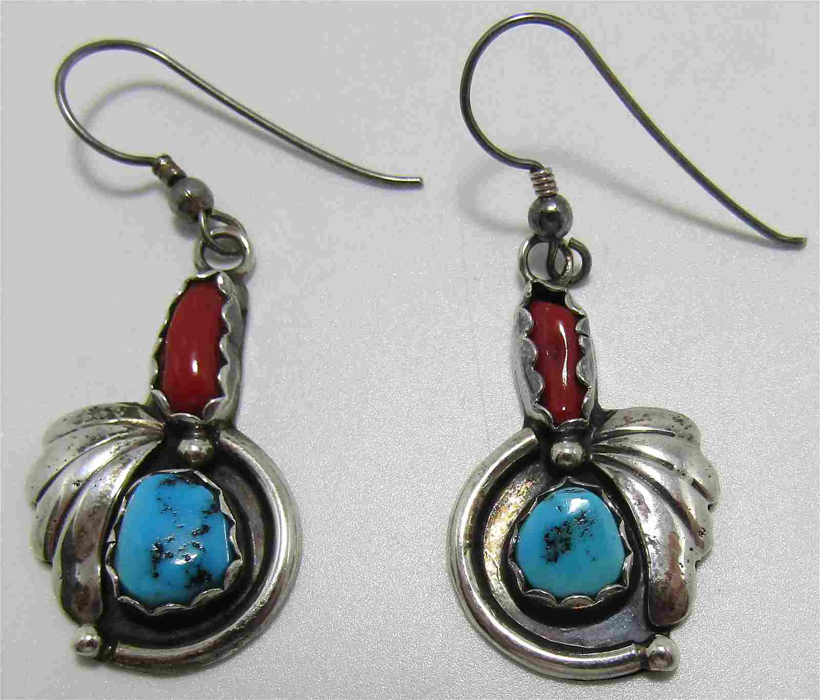 STERLING SILVER TURQUOISE RED CORAL EARRINGS